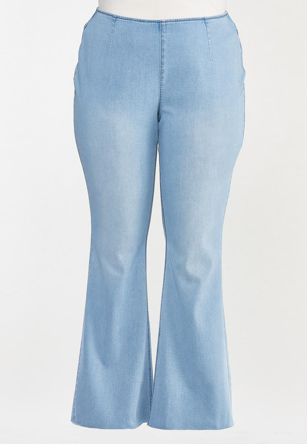 Plus Size Pull-On Flare Jeans