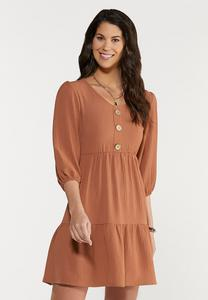 Tiered Textured Swing Dress