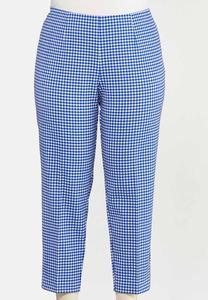 Plus Size Blue Gingham Ankle Pants