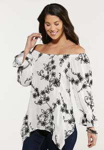 Plus Size Embroidered Off Shoulder Tunic