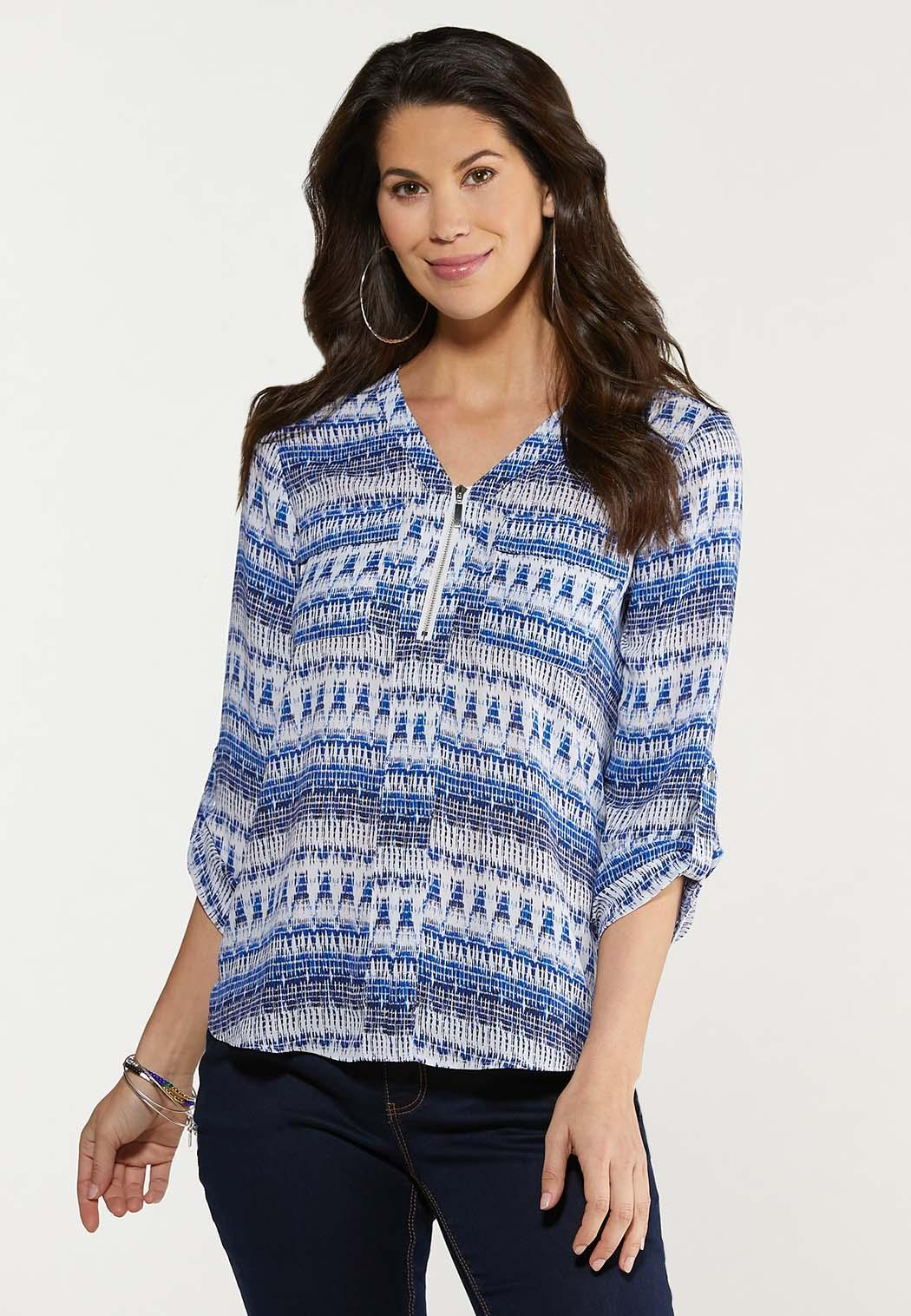 Plus Size Brushed Blue Zip Front Top