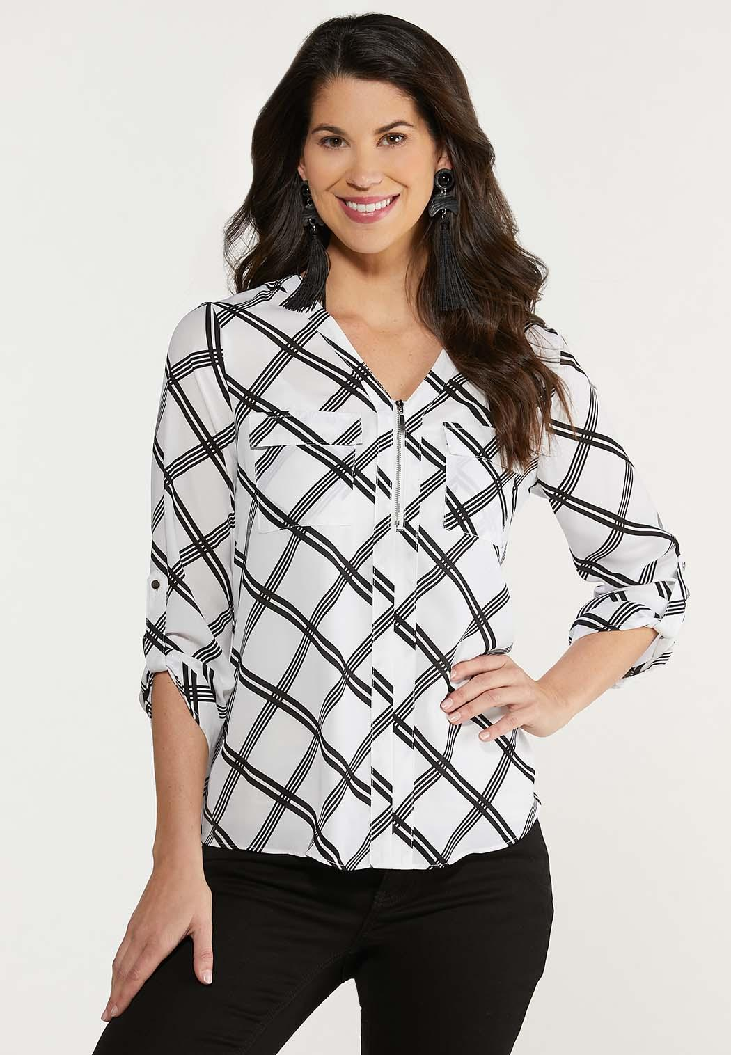 Plus Size Plaid Black And White Top