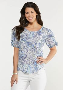 Plus Size Ruffled Blue Paisley Top