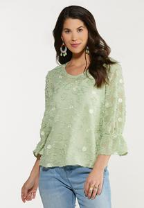 Dotted Green Textured Top