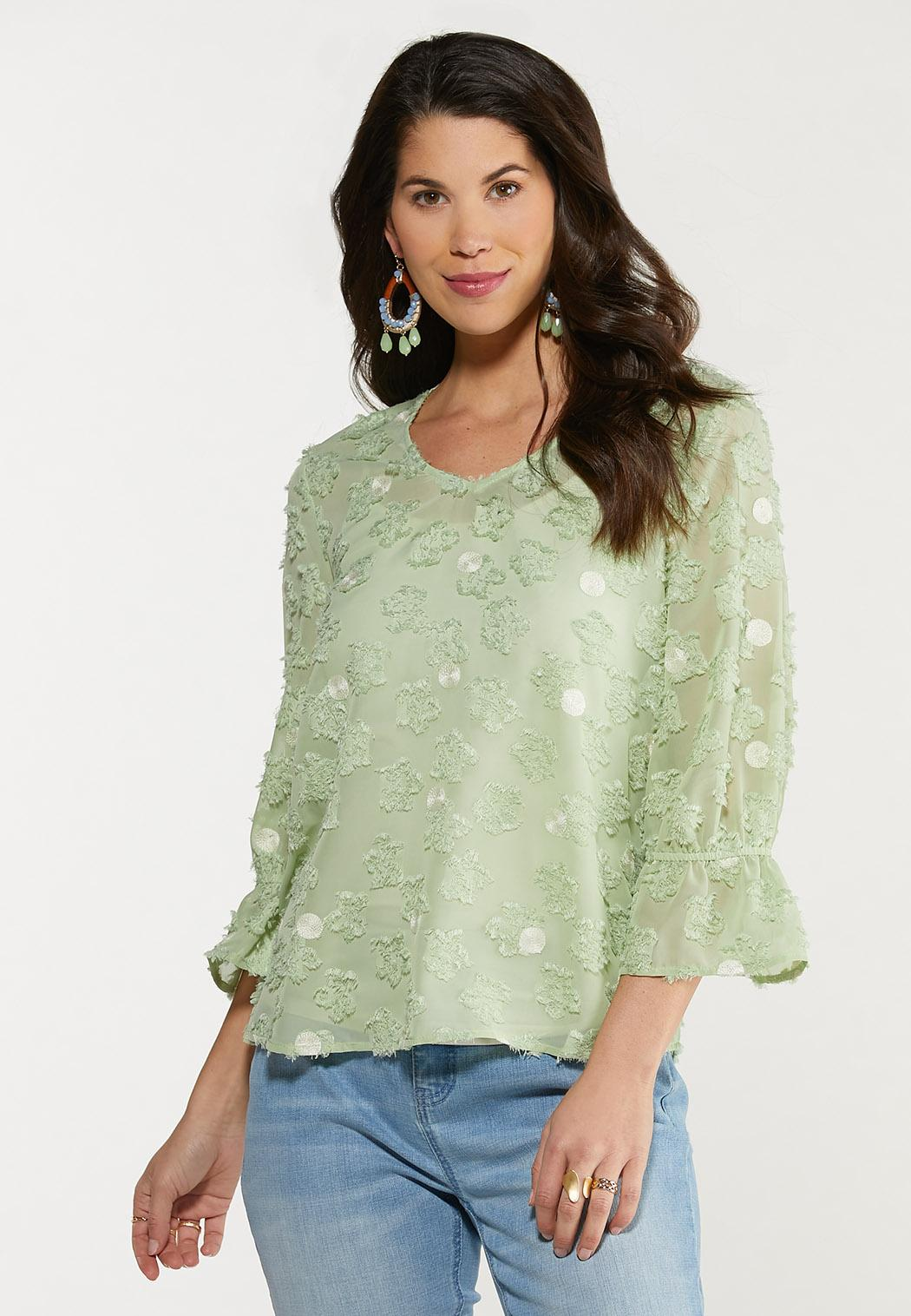 Plus Size Dotted Green Textured Top