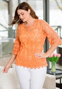 Plus Size Floral Mesh Top