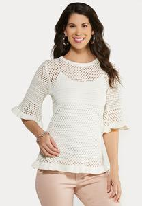 Plus Size Ruffled Pointelle Sweater
