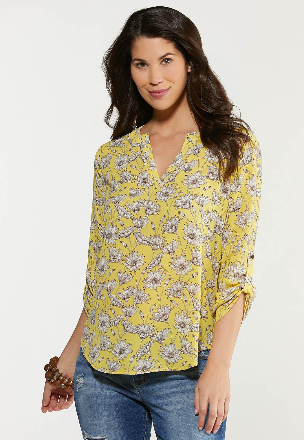 Plus Size Gold Daisy Top