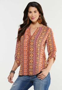 Plus Size Medallion Stripe Top