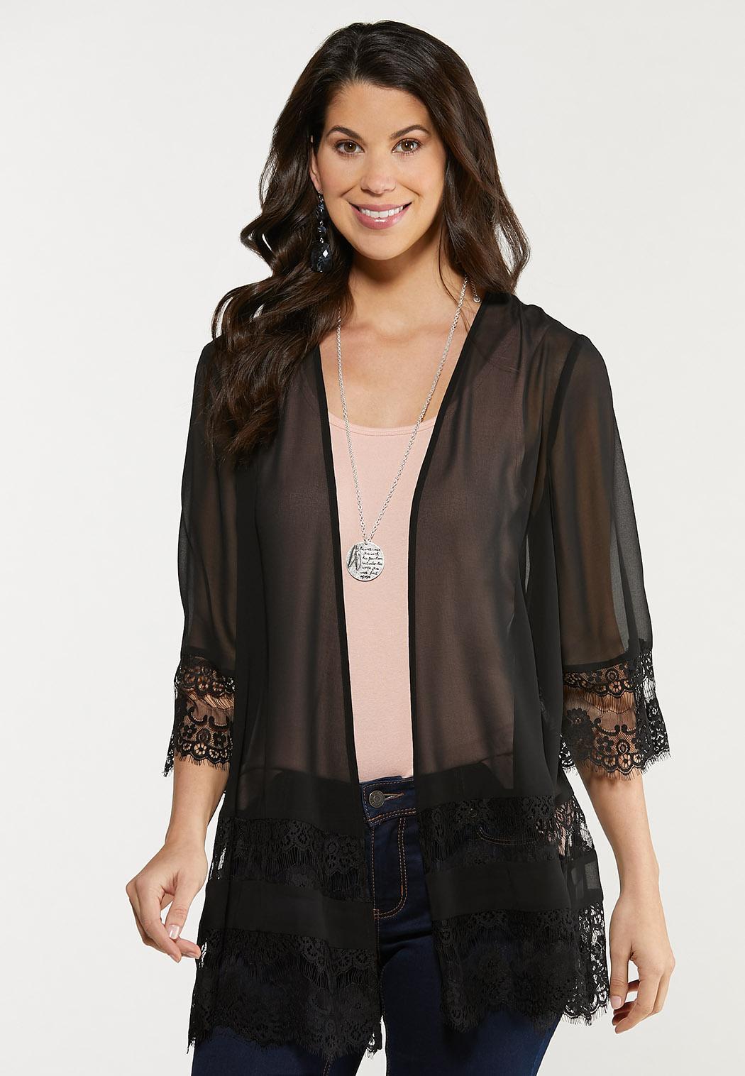 Black Lace Trim Kimono