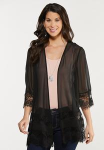 Plus Size Black Lace Trim Kimono