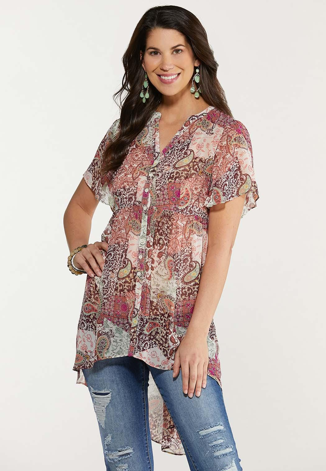 Plus Size Sheer Printed Tunic