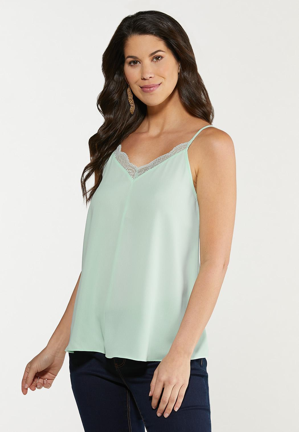 Plus Size Solid Lace Trim Cami