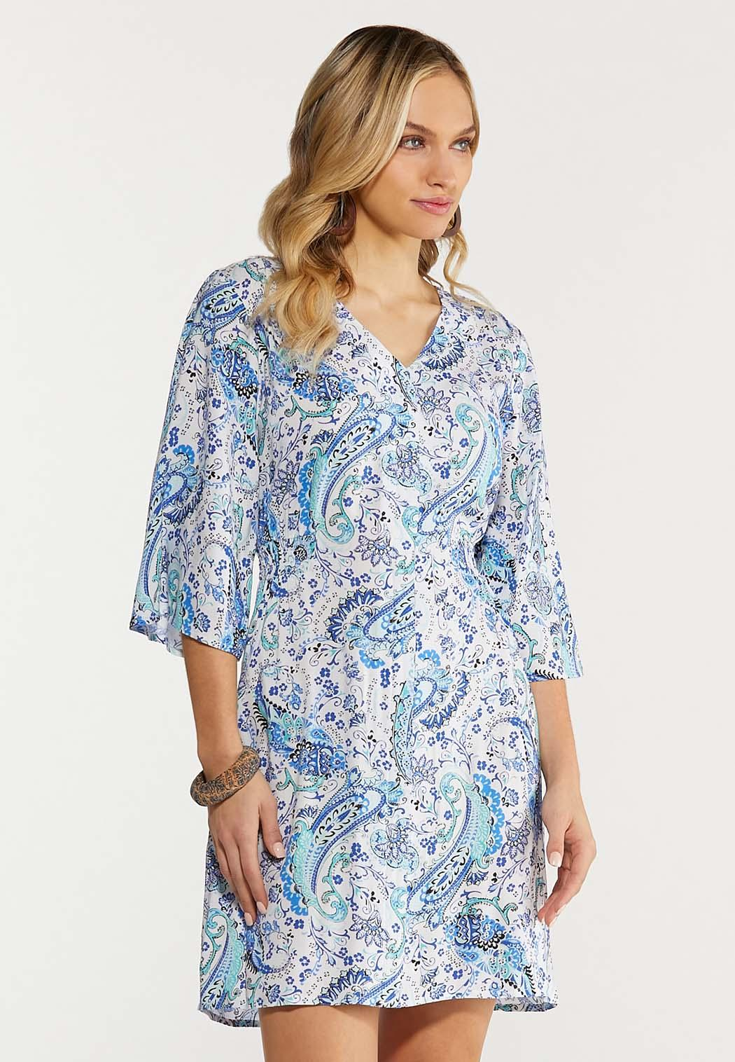 Plus Size Blue Paisley Dress