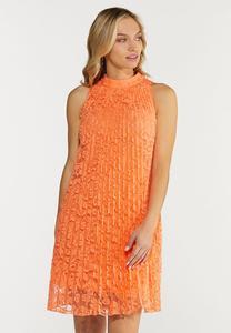 Pleated Lace Swing Dress