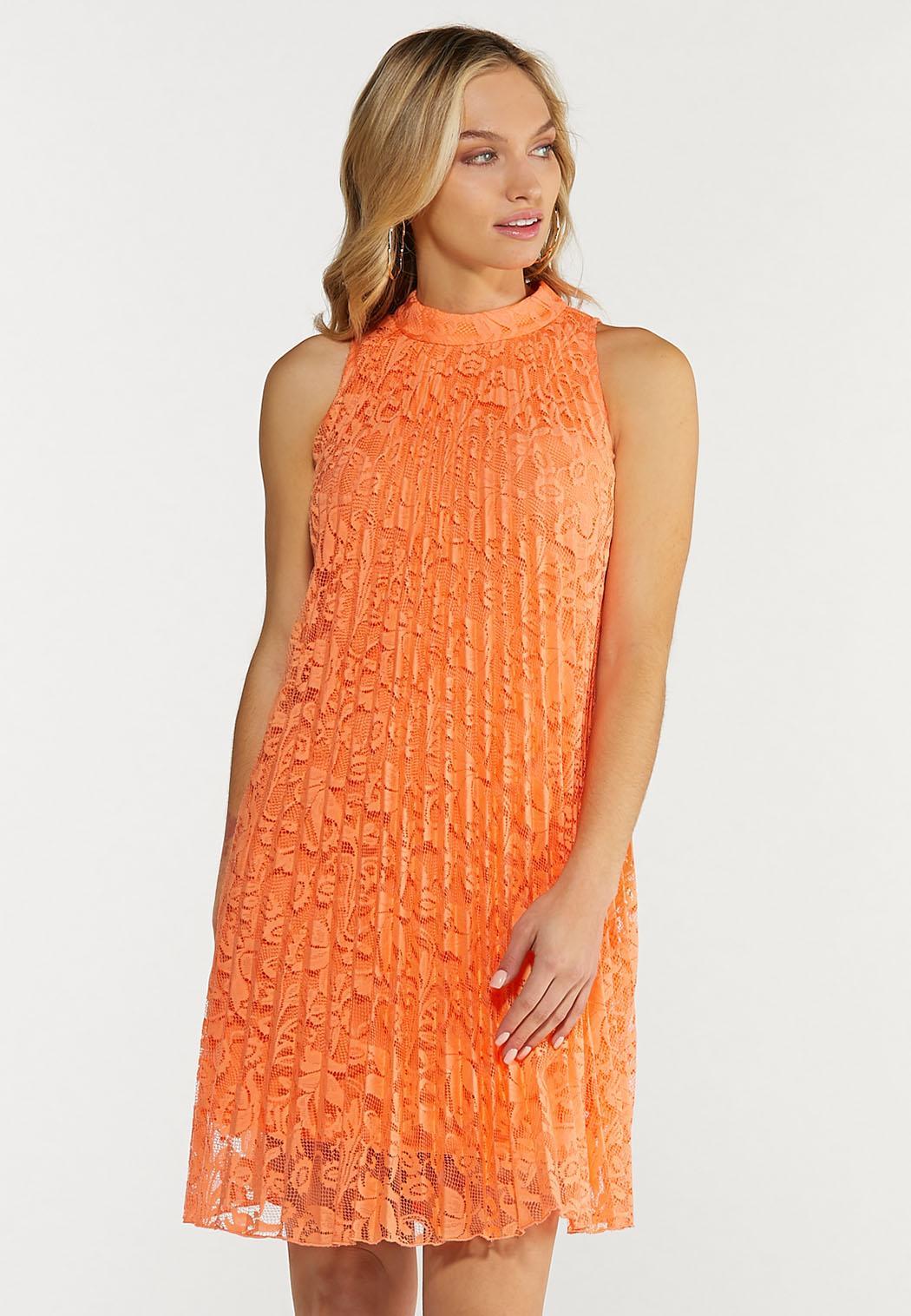 Plus Size Pleated Lace Swing Dress