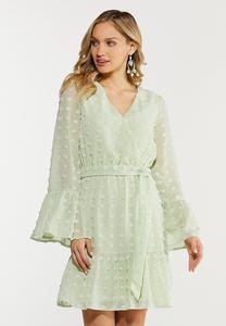 Textured Dot Faux Wrap Dress