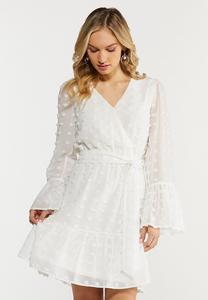 Plus Size Textured Dot Faux Wrap Dress