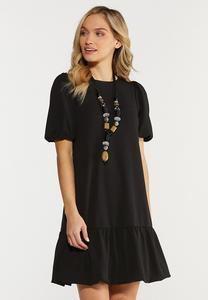 Plus Size Black Bubble Hem Dress