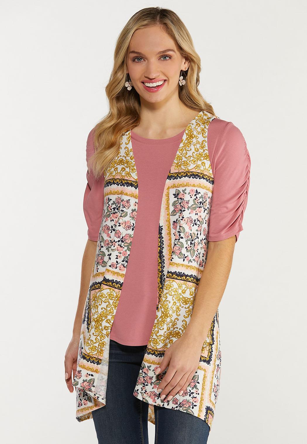 Plus Size Patchwork Floral Vest