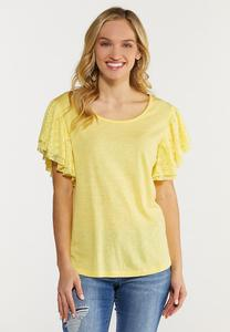 Plus Size Yellow Lace Flutter Sleeve Top
