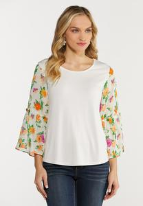 Plus Size Chiffon Floral Sleeve Top
