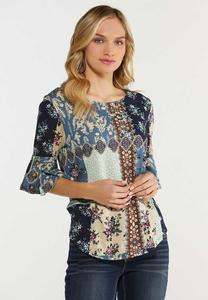 Plus Size Garden Floral Patchwork Top
