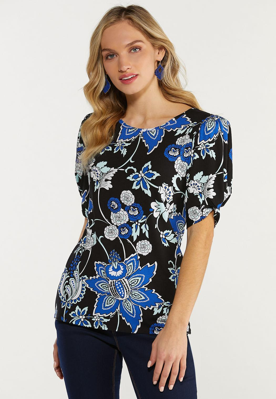 Plus Size Floral Twist Sleeve Top