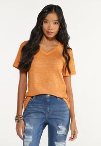 Plus Size Solid Burnwash Tee