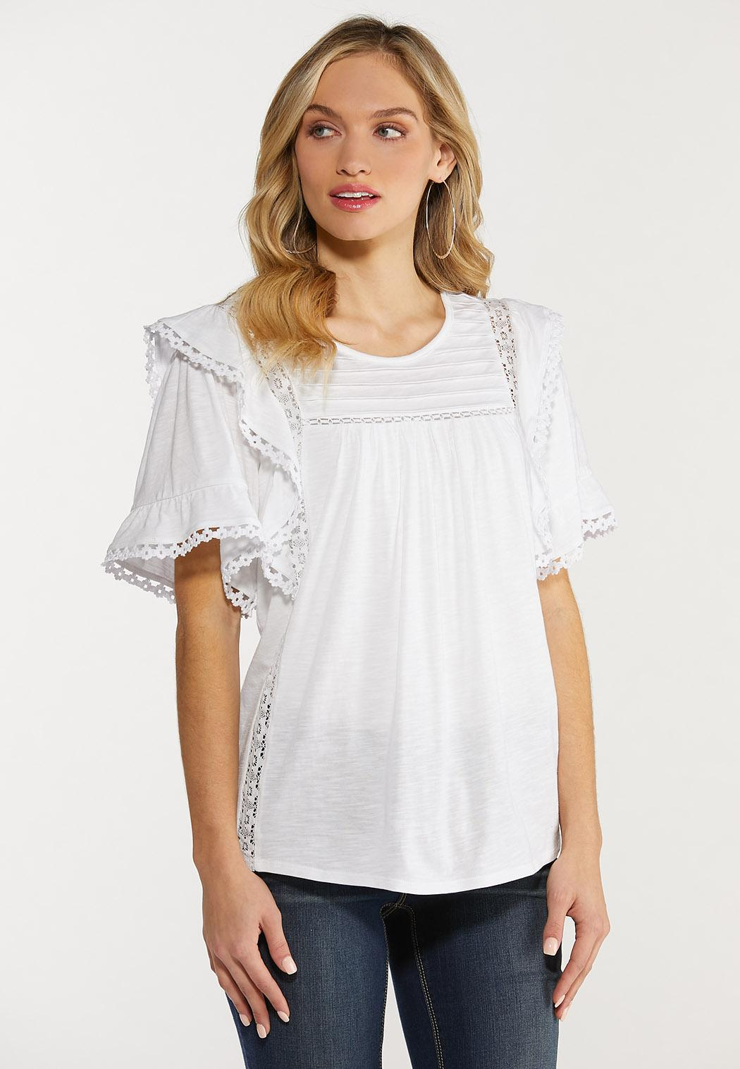 Plus Size Ruffled Flutter Lace Top