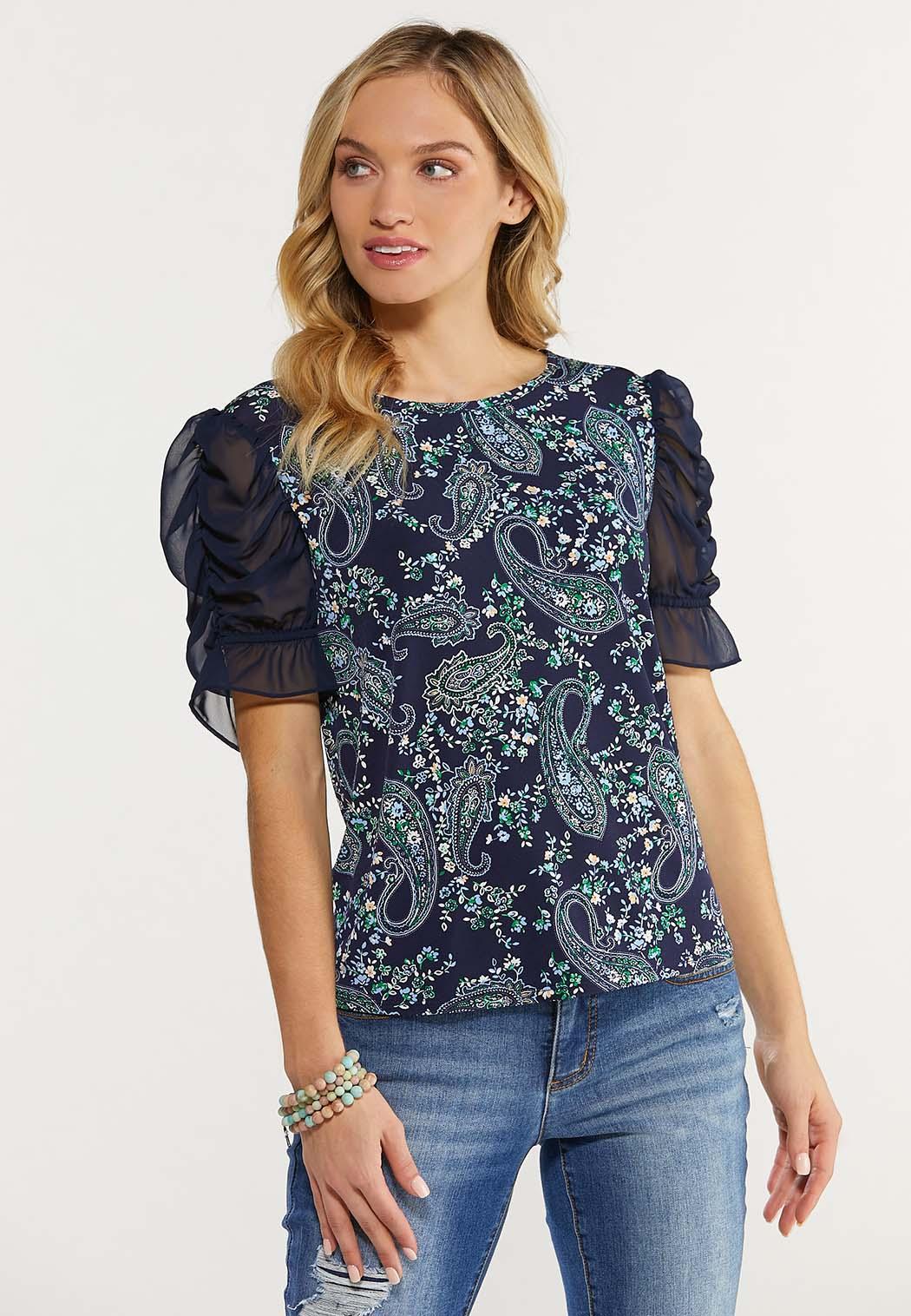 Plus Size Paisley Sheer Sleeve Top