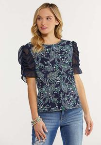 Plus Size Paisley Sheer Sleeve Top