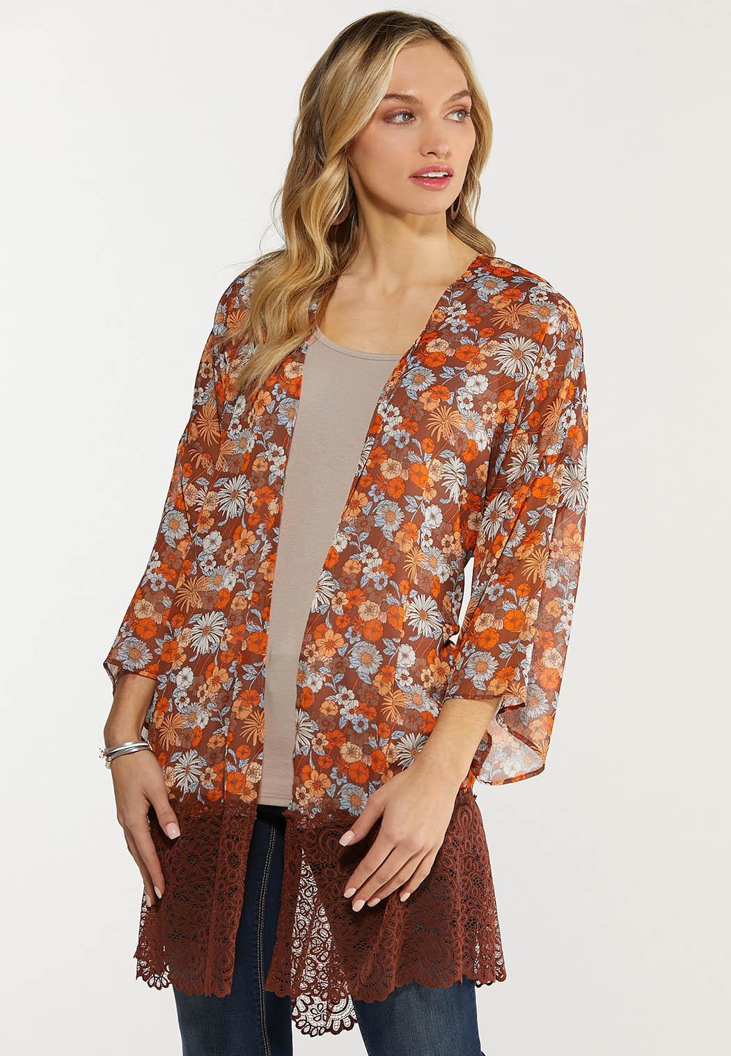 Plus Size Floral Lace Trim Kimono