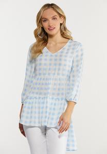 Plus Size Tiered Gingham Poet Top