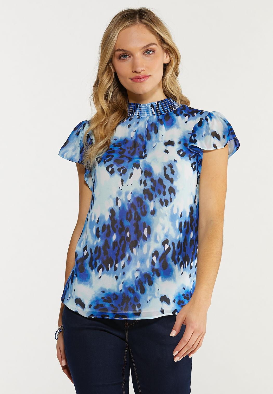 Plus Size Blue Animal Mock Neck Top