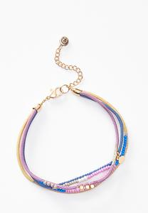 Fabric Pull- String Anklet