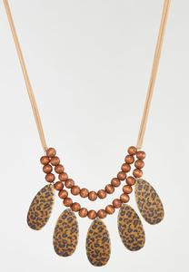 Leopard Cork Statement Necklace