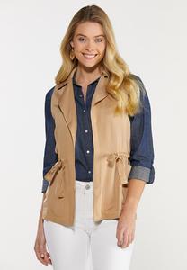 Plus Size Cinched Waist Utility Vest