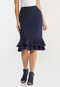Solid Double Ruffle Skirt