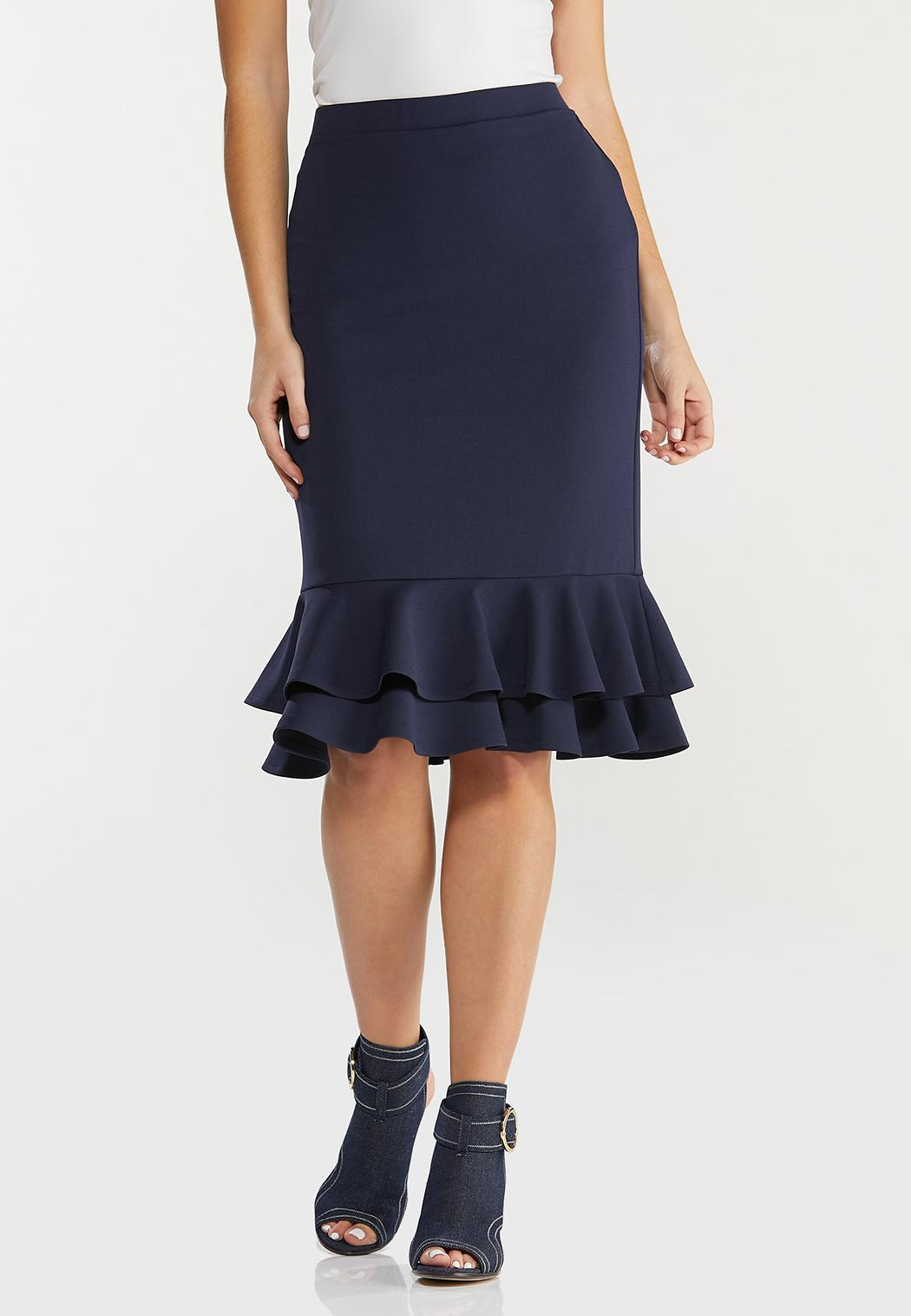 Plus Size Solid Double Ruffle Skirt