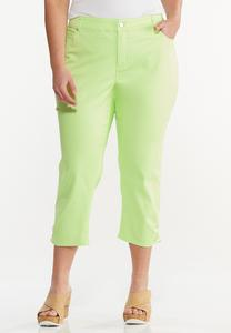Plus Size Cropped Ruched Colored Jeans