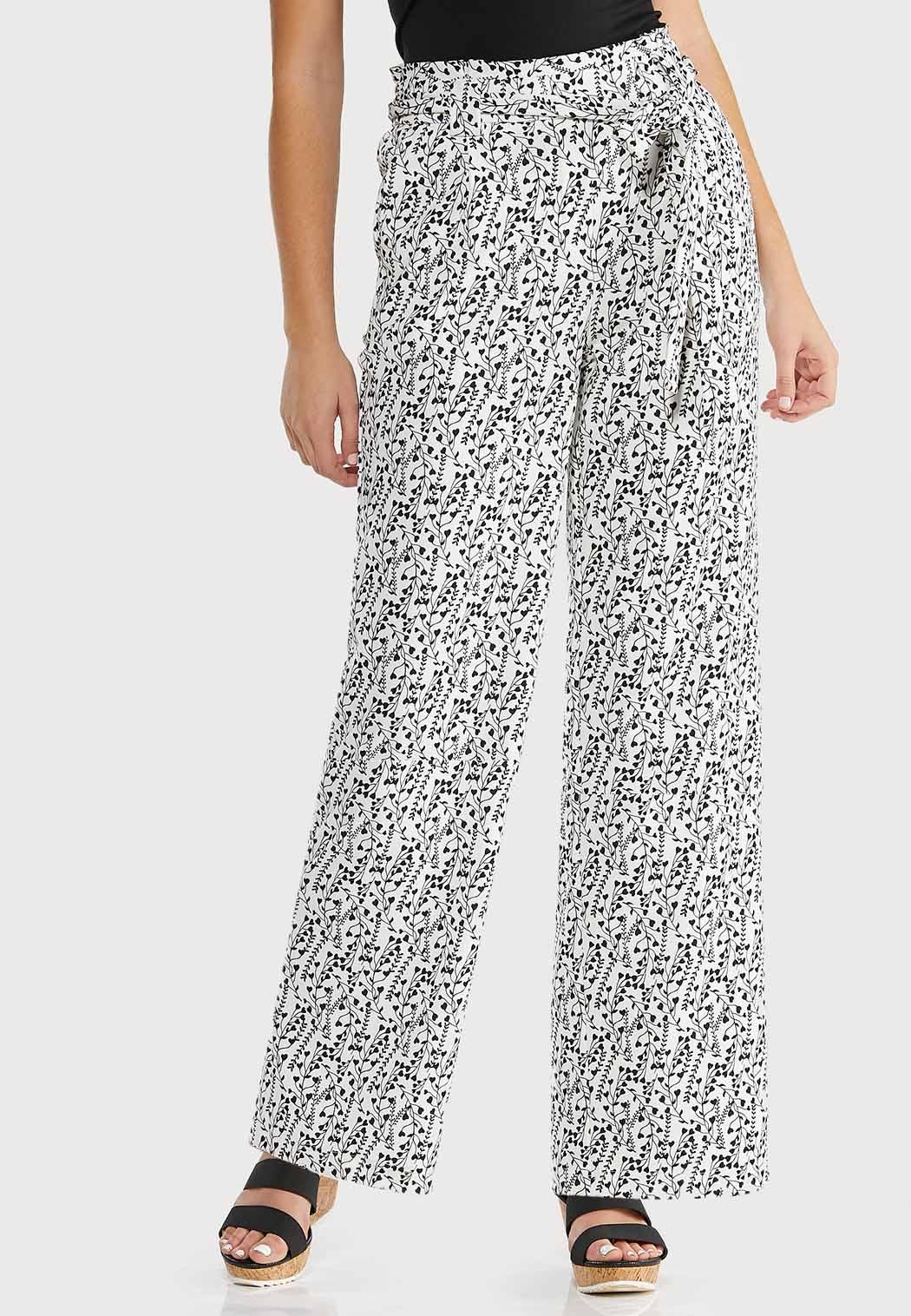 Petite Belted Heart Floral Pants