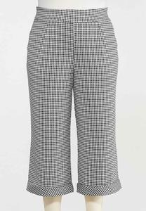 Plus Size Cropped Gingham Pants