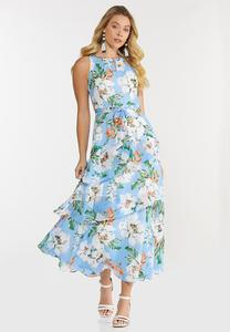 Petite Ruffled Sky Floral Dress