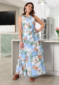 Plus Size Ruffled Sky Floral Dress