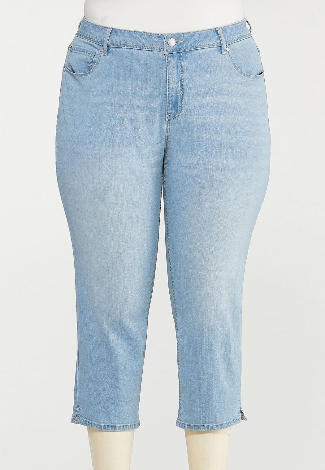 Plus Size Cropped Lightwash Skinny Jeans