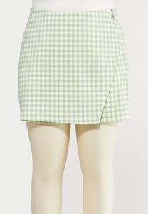 Plus Size Green Gingham Skort