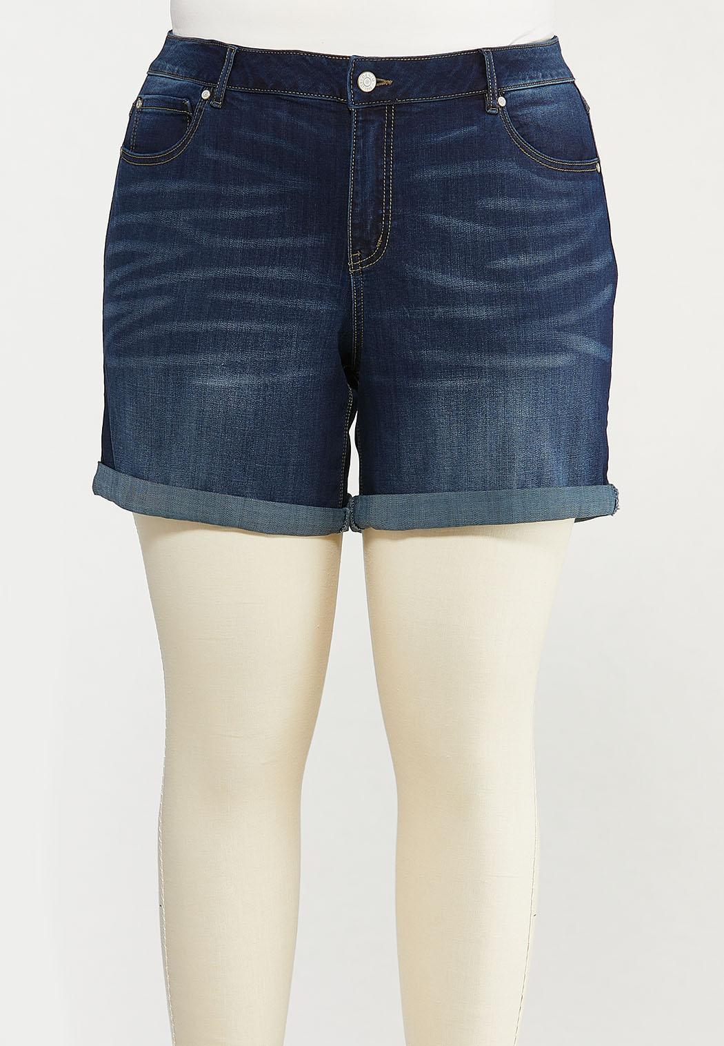 Plus Size Dark Denim Shorts