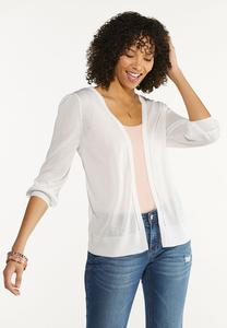 Plus Size Solid Sheer Cardigan Sweater