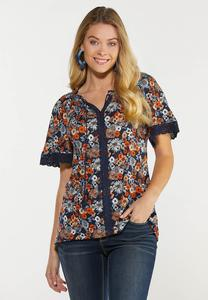 Plus Size Floral Lace Trim Poet Top